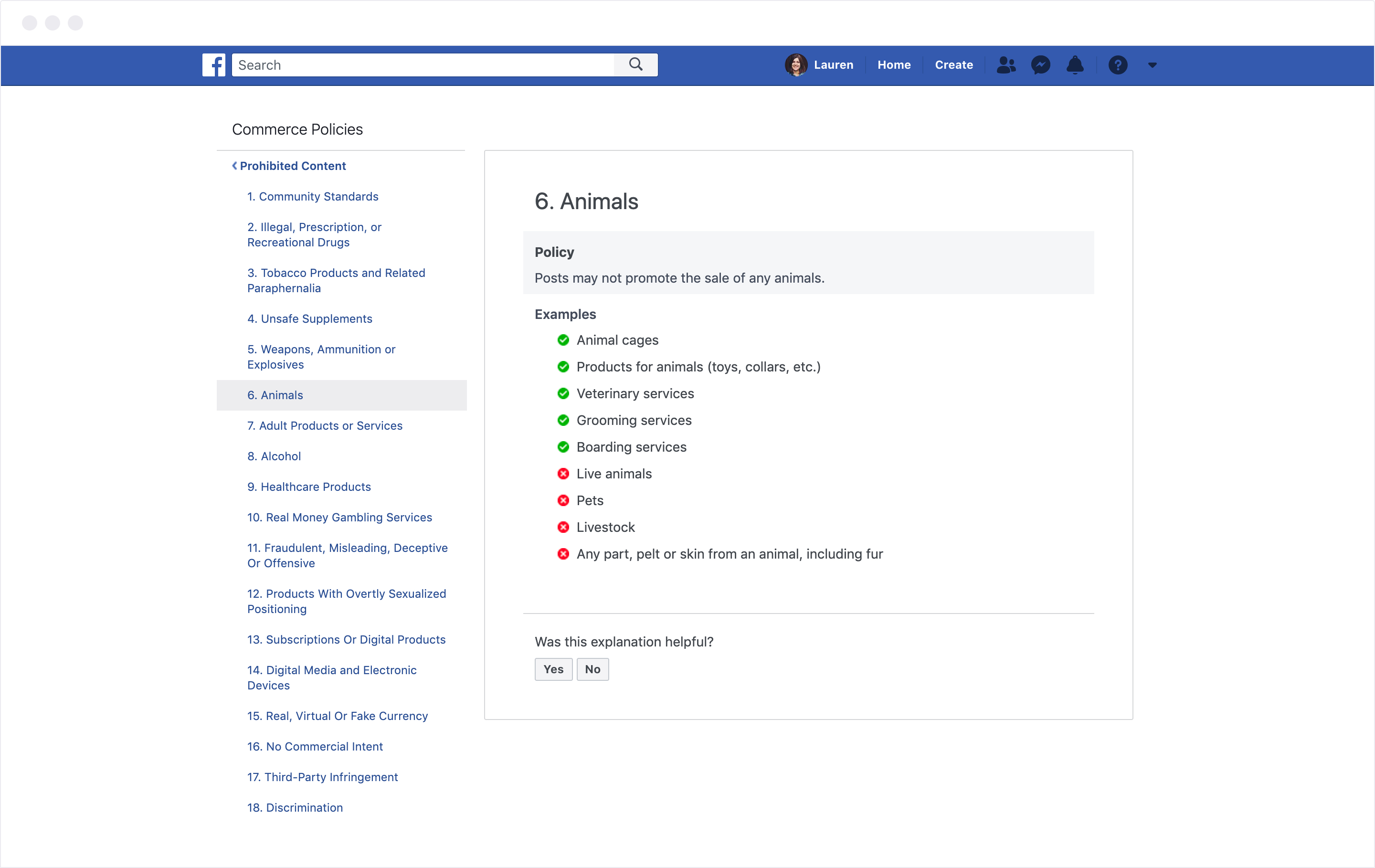 Facebook Commerce Animals Policy